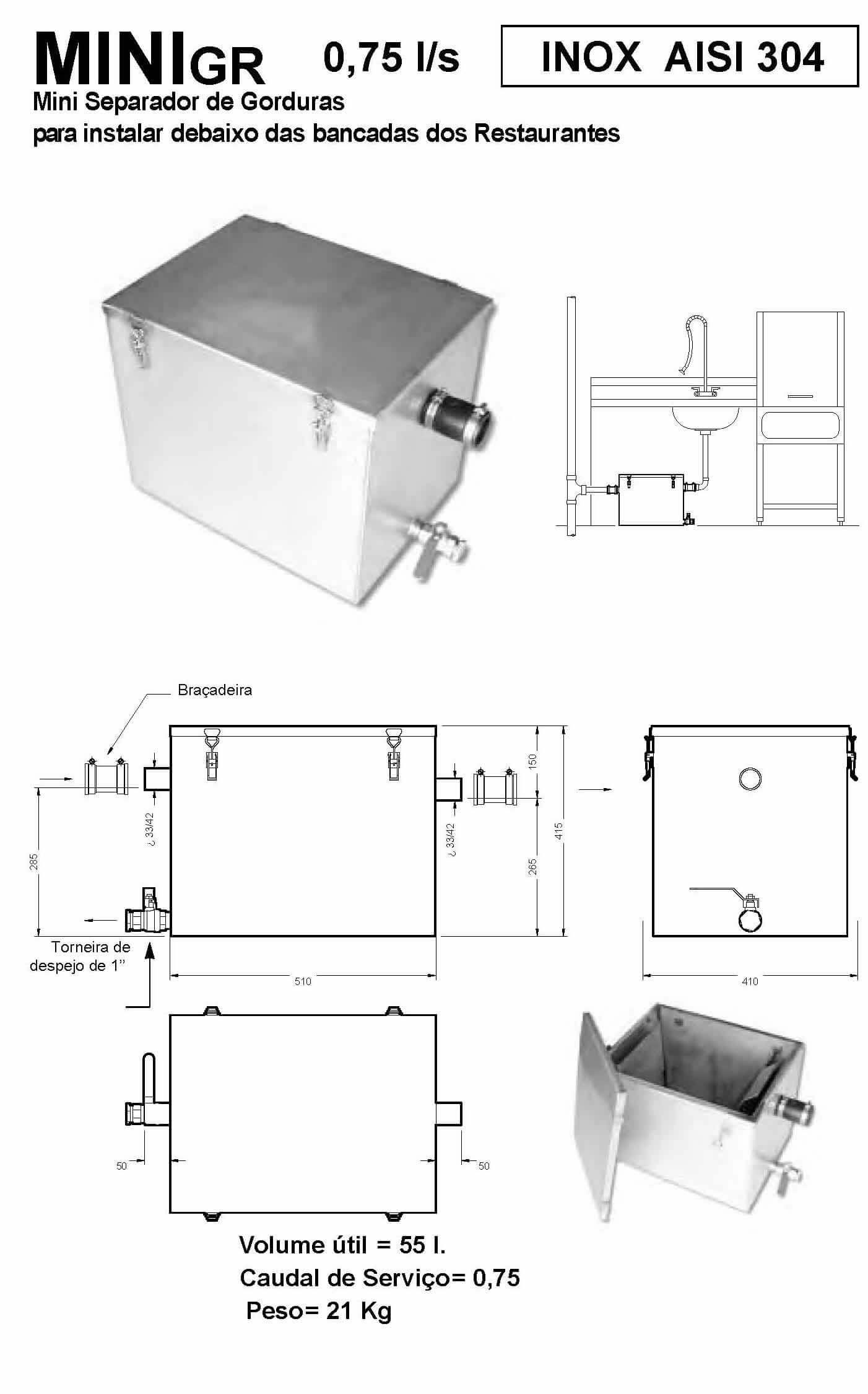 separador de gorduras compacto Separador de Gorduras Compacto Separador de Gorduras Compacto